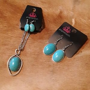 Paparazzi turquoise necklace & 2 earring sets